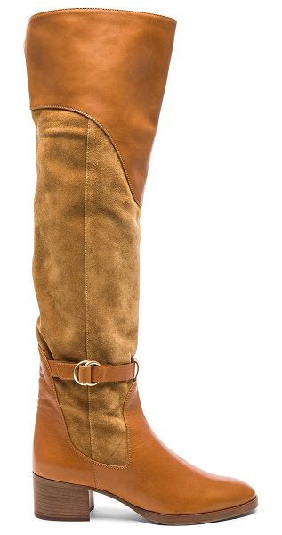 Chloe Suede Lenny Over the Knee Boots in dune - Suede upper with leather sole. Made in Italy. Shaft...