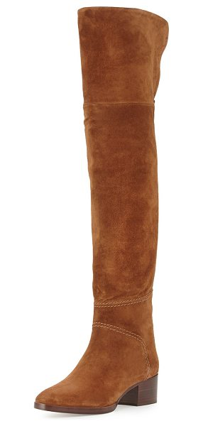 "CHLOE Suede Over-the-Knee Flat Boot in ella brown - Chloe suede over-the-knee boot. 22""H shaft; 17""..."