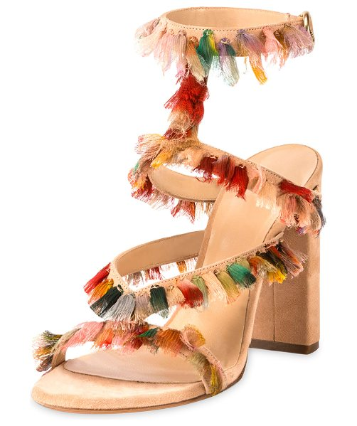 Chloe Suede Sandal with Colorful Fringe in reef shell - Chloe strappy suede sandal, embellished with multicolor...