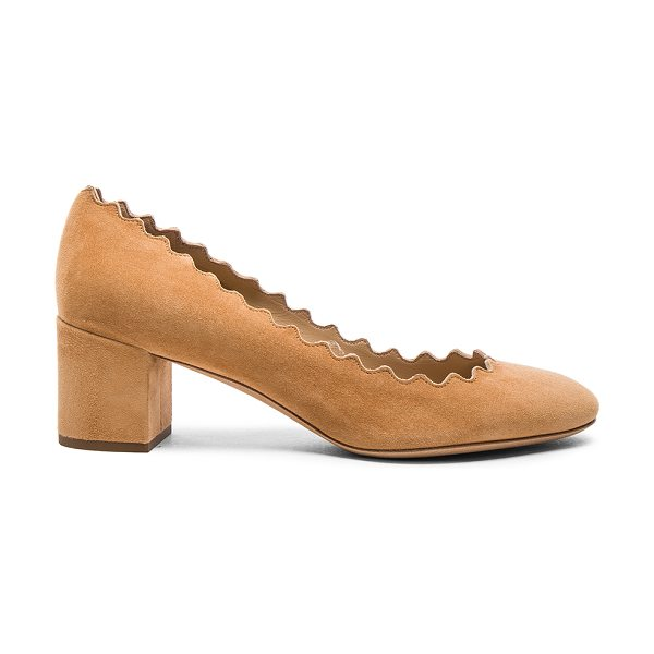 CHLOE Suede Scallop Heels in angora beige - Suede upper with leather sole. Made in Italy. Approx...