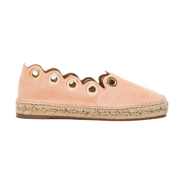 Chloe Suede scalloped espadrilles in pink,neutrals - Suede upper with leather sole.  Made in Spain.  Approx...