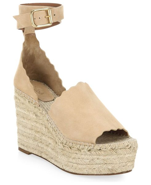 """CHLOE suede wedge espadrilles - Chic suede wedge espadrilles with iconic scalloped trim.4""""..."""