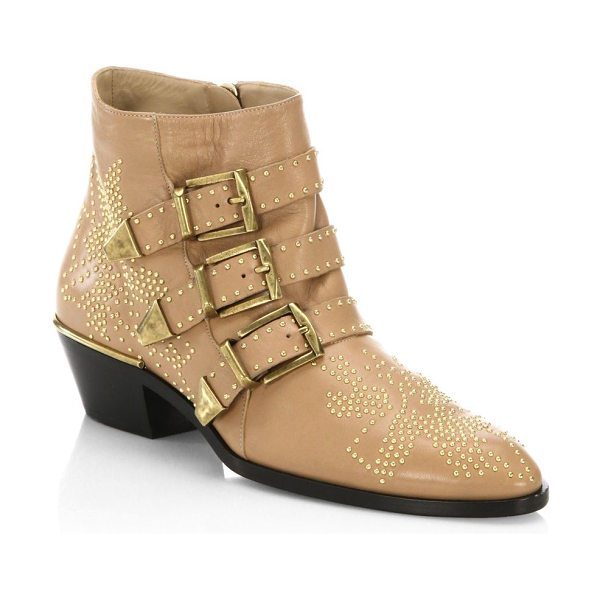 Chloe susanna leather booties in darkbeige - On-trend leather booties with micro stud details. Block...