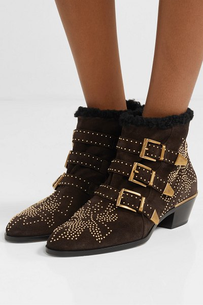 Chloe susanna shearling-lined studded suede ankle boots in brown