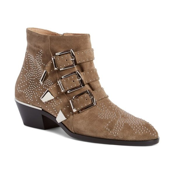 CHLOE susanna stud buckle bootie - Golden studs pepper an iconic belted bootie done in soft...