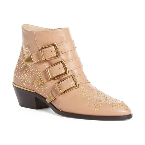 Chloe susanna stud buckle bootie in beige gold leather - Golden studs pepper an iconic belted bootie with...