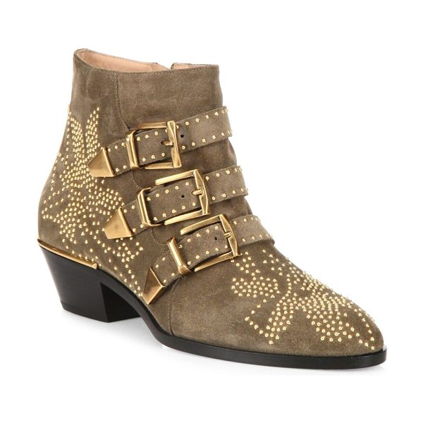 Chloe susanna studded suede buckle booties in tan - Multi-strap suede bootie with polished studded design....