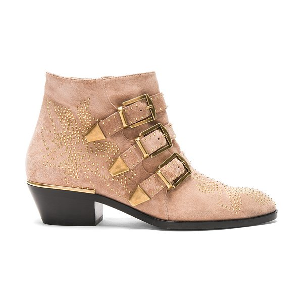 Chloe Susanna Suede Boots in nude - Stud embellished suede upper with leather sole.  Made in...