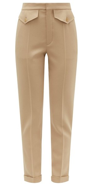 Chloe tailored virgin wool-blend twill trousers in light brown