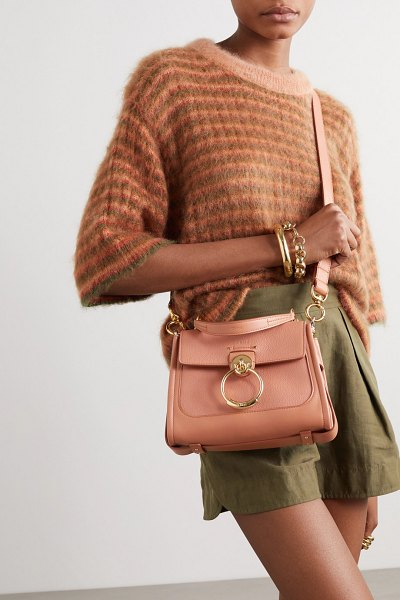 Chloe tess day mini textured and smooth leather shoulder bag in pink