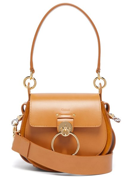 Chloe tess small leather and suede cross-body bag in amber