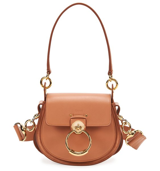 Chloe Tess Small Leather/Suede Camera Crossbody Bag in light brown