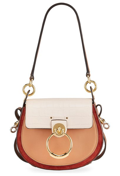 Chloe Tess Small Tricolor Mixed Leather Shoulder Bag in 6j5 cement pink