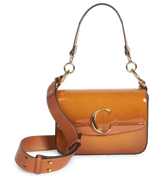 Chloe chloe c patent leather double carry bag in brown - Glossy patent leather shoulder bag finished with...