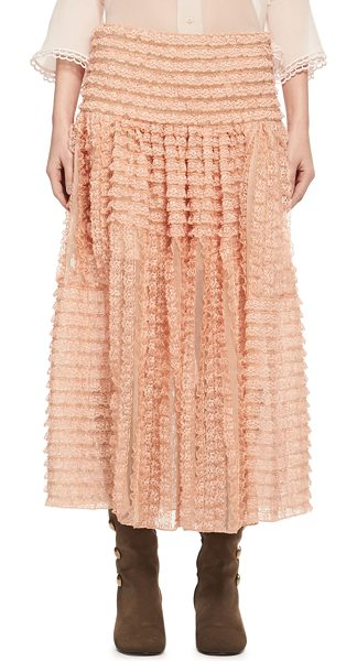 Chloe Tiered Ribbon Lace Ruffled Silk Skirt in peach - Chlo skirt in ribbon-striped tiered lace. A-line...