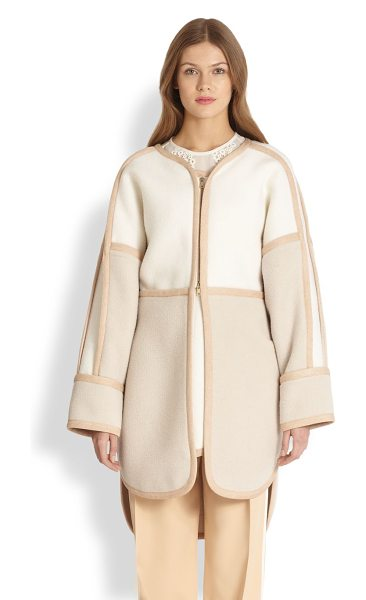 Chloe Tri-color coat in vanillamulti - A wonderfully warm blend of alpaca and wool, tailored in...