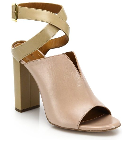Chloe Two-tone split leather peep-toe sandals in pink
