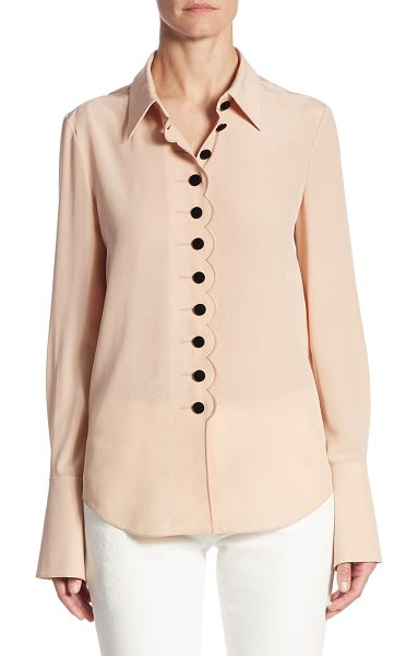 Chloe silk bell-sleeve top in beige - Scalloped trim and oversized buttons elevate blouse....