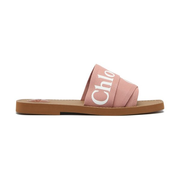 Chloe woody canvas and leather sandals in pink