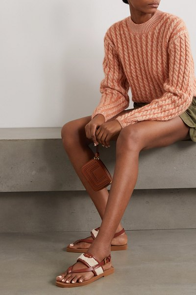 Chloe woody shearling and leather sandals in beige