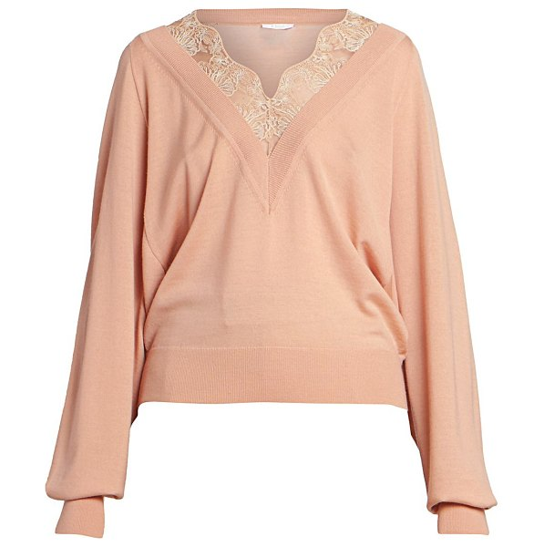 Chloe wool-blend lace detail v-neck knit sweater in milky pink