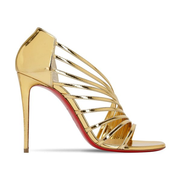 Christian Louboutin 100mm norina metallic leather sandals in gold