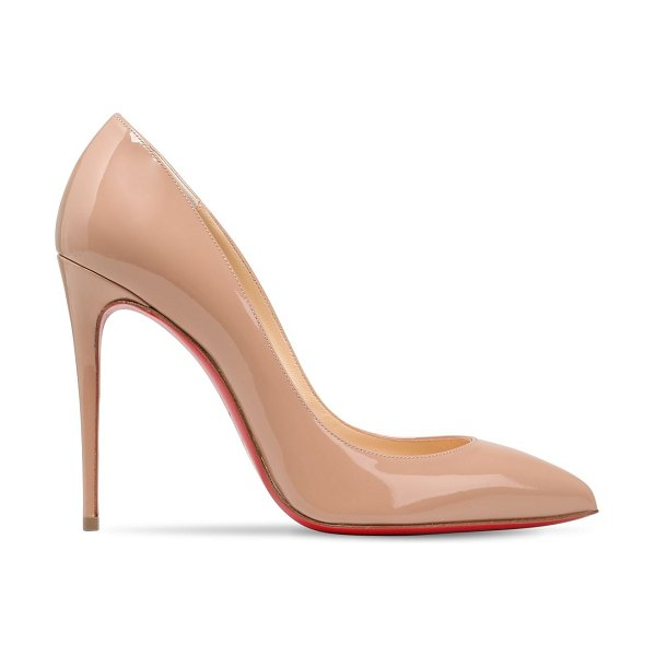 Christian Louboutin 100mm pigalle follies patent pumps in nude