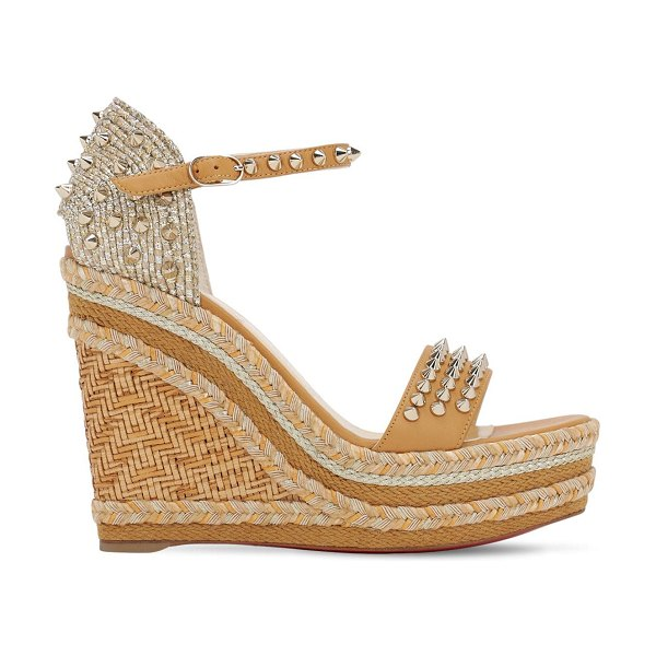Christian Louboutin 120mm madmonica leather & rope wedges in beige,gold