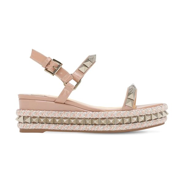 Christian Louboutin 60mm embellished patent leather wedges in blush,gold