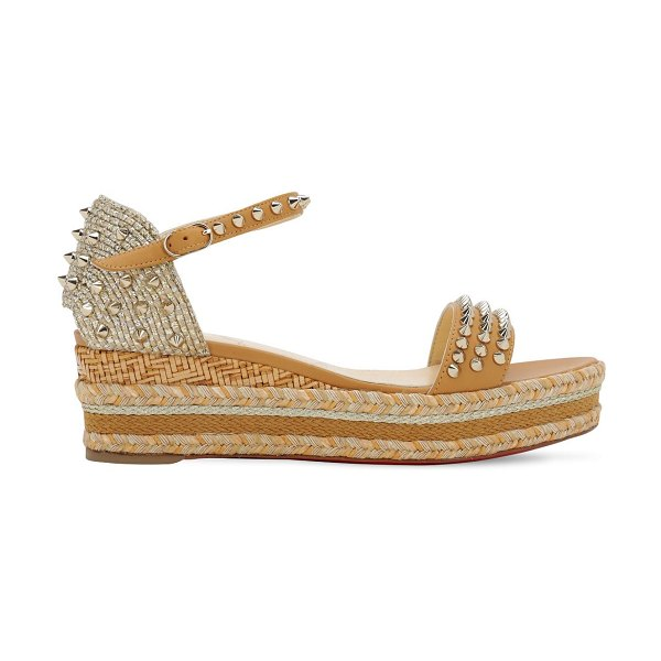 Christian Louboutin 60mm madmonica leather & rope wedges in beige,gold