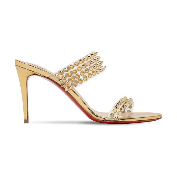 Christian Louboutin 85mm spikes only plexi & leather sandals in gold