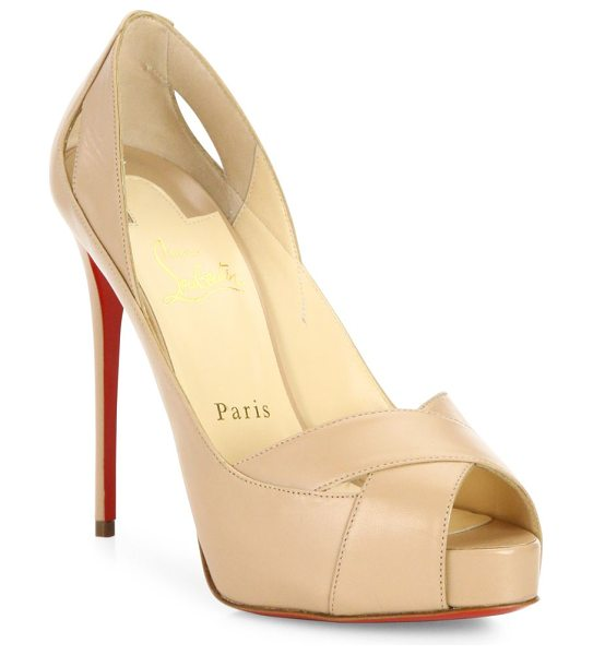 Christian Louboutin academa leather pumps in nude - Spliced leather crisscross sandal set on sky-high heel....
