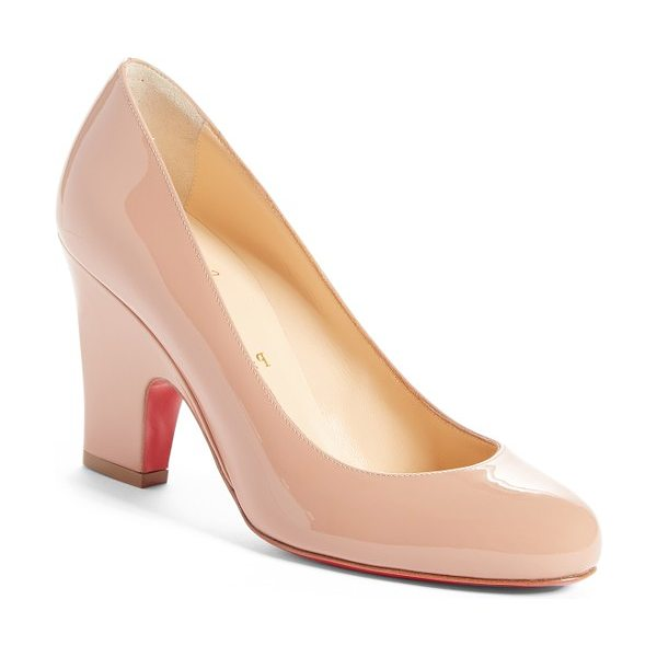 Christian Louboutin akdooch pump in nude patent - The classic round-toe silhouette of this patent-calfskin...