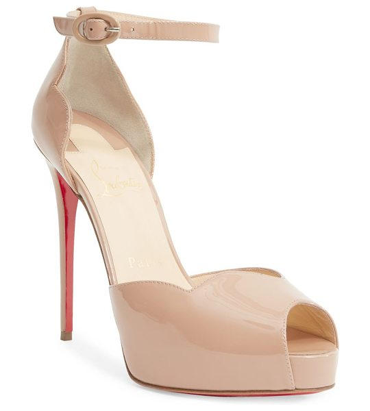 Christian Louboutin aketata 120 patent leather peep toe sandals in nude - Towering patent peep-toe sandal with scalloped trim....