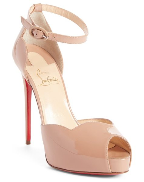 Christian Louboutin aketata ankle strap sandal in nude patent - A towering stiletto heel lifts a svelte platform sandal...