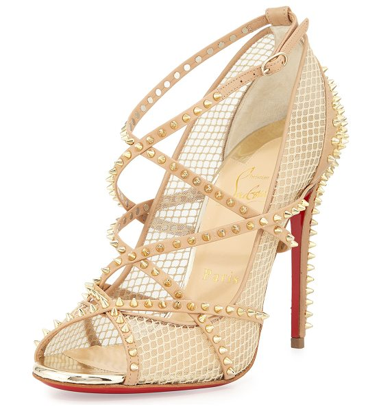 Christian Louboutin Alarc mini-spike mesh red sole sandal in nude/light gold