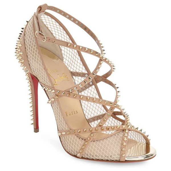 Christian Louboutin alarc sandal in nude/ light gold leather - Glinting spikes add a dangerous, rock-'n'-roll element...