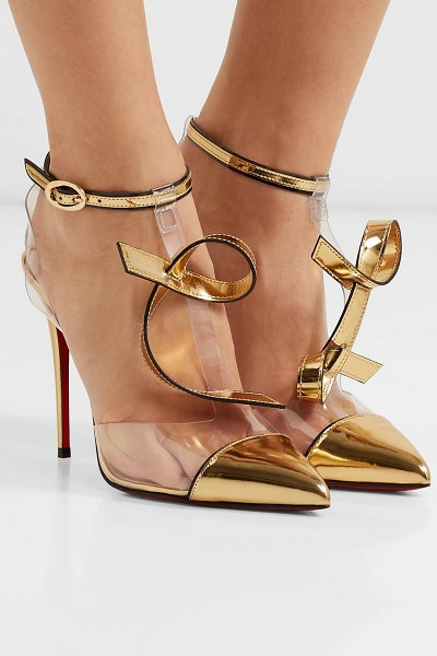 Christian Louboutin alta firma 100 appliquéd pvc and metallic leather pumps in gold