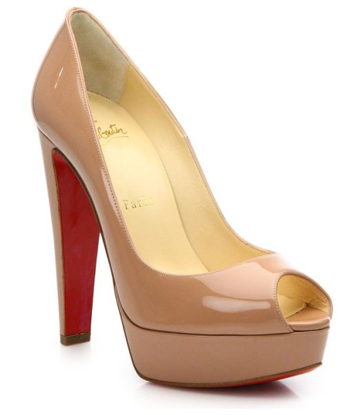 Christian Louboutin Alta nana patent leather platform pumps in nude - Slip into this sleek patent leather pump, designed with...