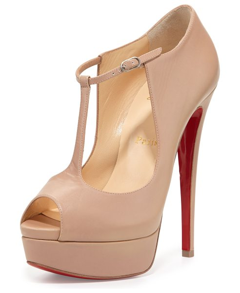 "Christian Louboutin Alta poppins t-strap red sole pump in nude - Christian Louboutin kid leather pump. 6"" covered heel;..."