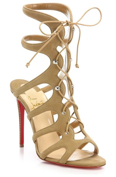 Christian Louboutin amazoulo 100 suede lace-up sandals in beige