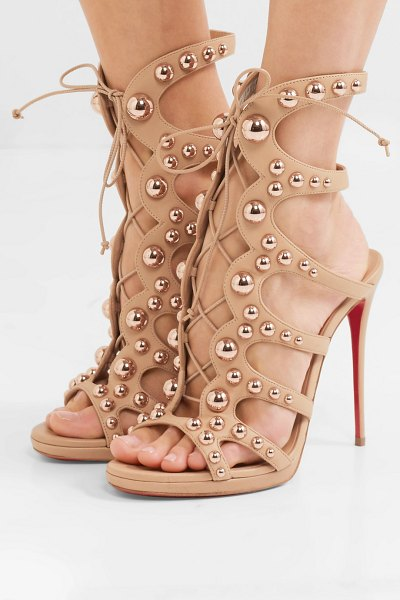 Christian Louboutin amazoubille 120 studded leather sandals in neutral