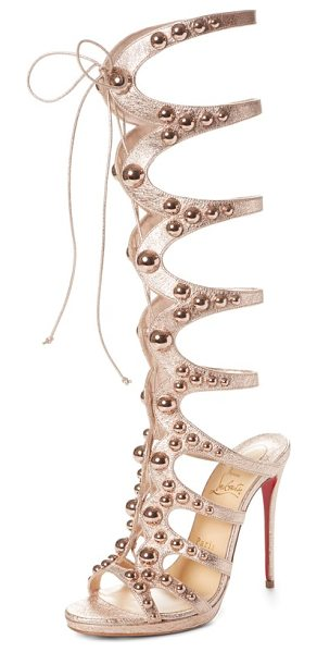 Christian Louboutin amazoutiful ghillie cage sandal in rose gold - Polished dome studs further the bold, curvy appeal of a...