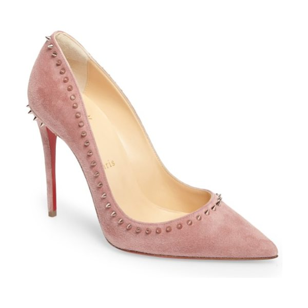 Christian Louboutin anjalina pointy toe pump in pink - Sharp golden spikes form an edgy halo around the...