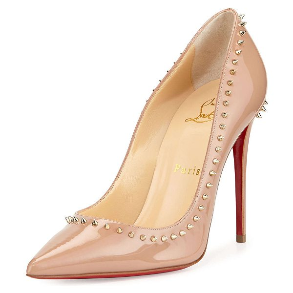 Christian Louboutin Anjalina spike patent red sole pump in nude/light gold - Christian Louboutin patent leather pump. Golden...