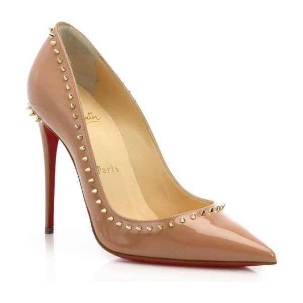 Christian Louboutin Anjalina spiked patent leather pumps in nude - Fiercely feminine in high-shine patent leather, this...