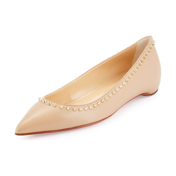 """Christian Louboutin Anjalina studded red sole skimmer in nude -  Christian Louboutin smooth leather skimmer. 0. 5"""" flat..."""