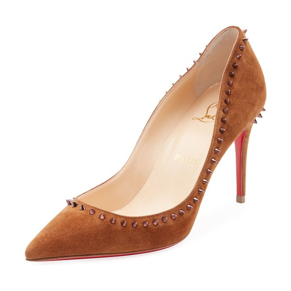 "Christian Louboutin Anjalina Suede Spiked Red Sole Pump in camel - Christian Louboutin suede pump with spiked trim. 3.3""..."