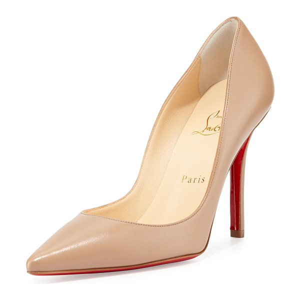 Christian Louboutin Apostrophy Pointed Red-Sole Pump in beige