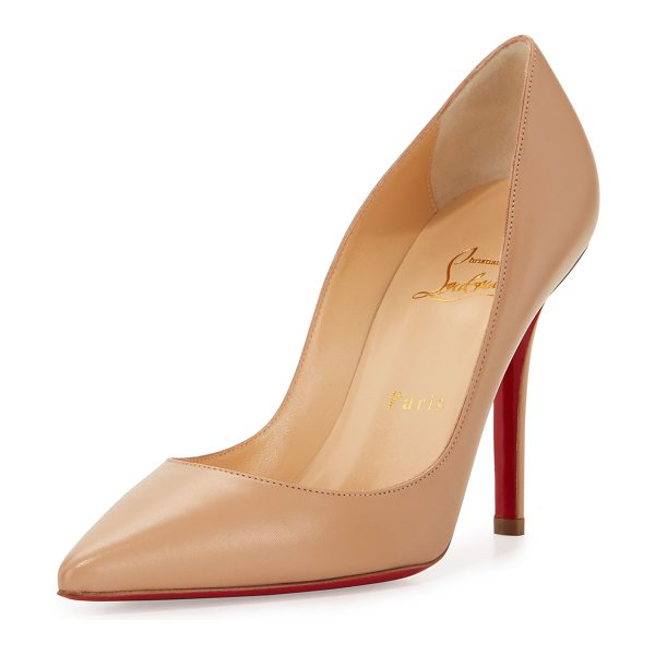 """CHRISTIAN LOUBOUTIN Apostrophy Pointed Red Sole Pump in neutral - Christian Louboutin kid leather pump. 4"""" covered..."""